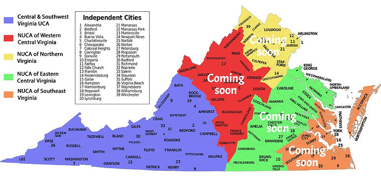 NUCA of VA Regional Chapter Map