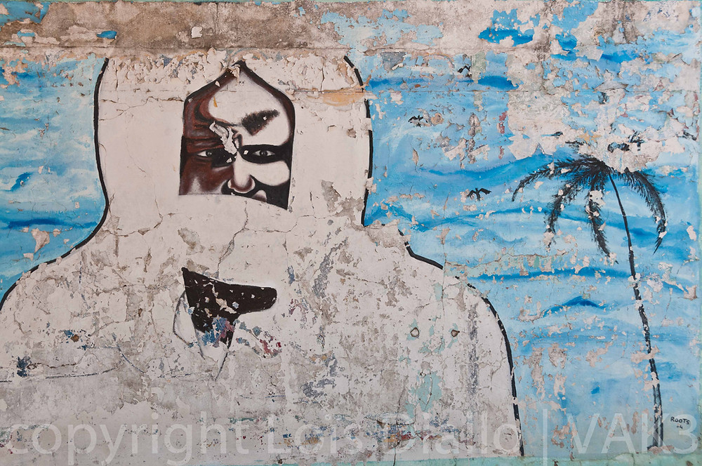 cheikh Amadou Bamba op een muur in Mbourg (Senegal)