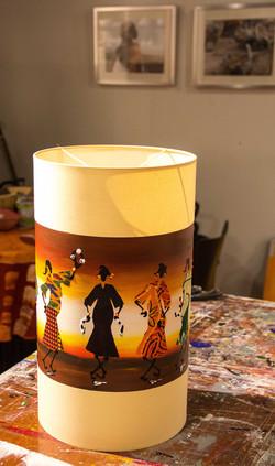door Lodia beschilderde lampenkap