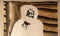 schilderij van cheick Amadou Bamba, gropndlegger van het Mouridisme, spiritueel leider, inspiratiebron