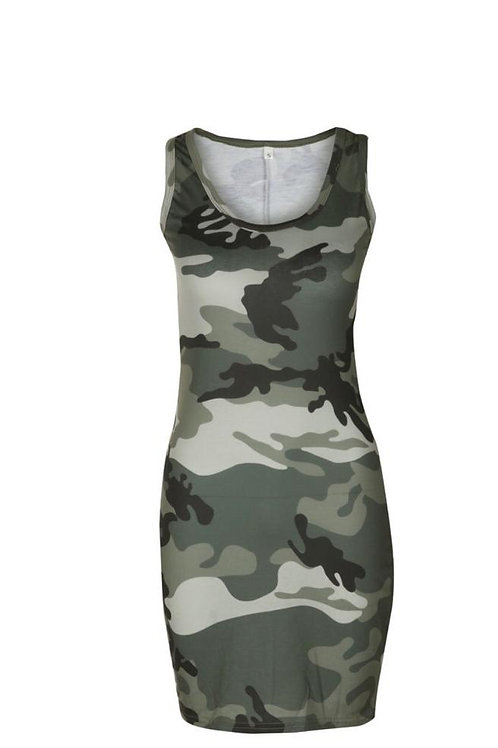 Army Green Women's Fashion Dress
