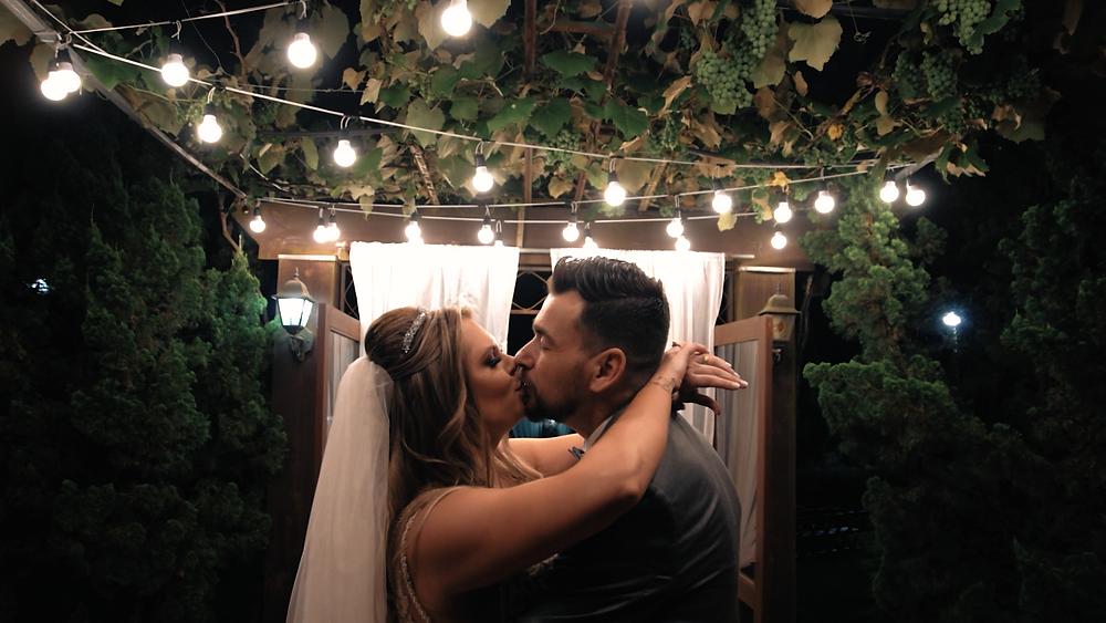 Noivos se beijando debaixo de uma videira e varal de luzes, pé de uva, casamento ao ar livre