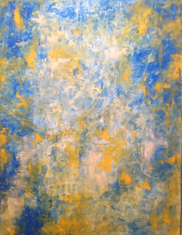 blue yellow acrylic painting abstract