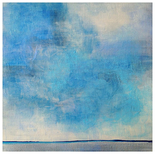 Open Sky Acrylic Painting with horizon. Blue Grey sky