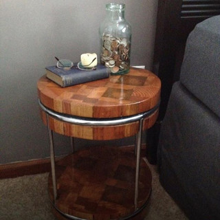 """Reclaimed mix woods and aluminum rings. Aprox 15""""round x 20""""high $175"""