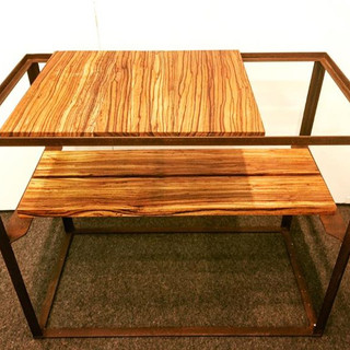 30x16x22 reclaimed zebrawood and reclaimed metal garden base $400