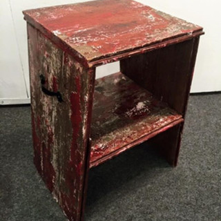 12x12x18 Red Barnwood Stool $100