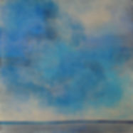 Contemporary art paired music blue clouds