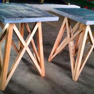 "Reclaimed grey stone over reused oak stair treads 18""x18""x18"" $125 each"