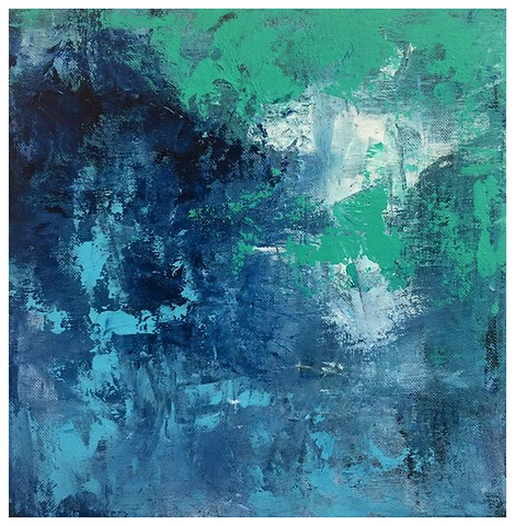 Rich Blue, Greens, an White abstract Acrylic painting created with layers