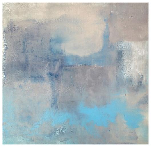 Grey Blue Abstract Origianl Print