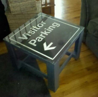 20x20x16 aluminum vintage parking sign over grey distressed pine. $125