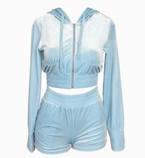 BABY BLUE VELOUR SHORT SET