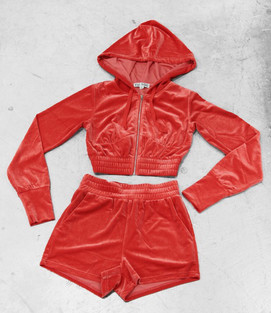 RED VELOUR SHORT SET
