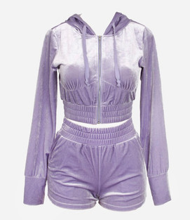 LAVENDER VELOUR SHORT SET