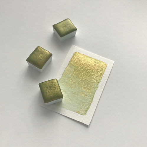 Olive Gold - Half Pan Mica Watercolor