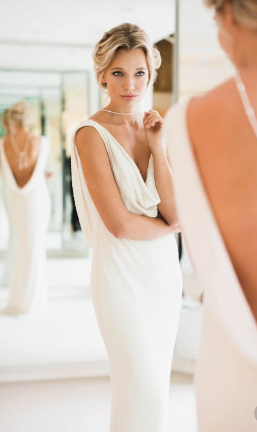 Cowl neck bias cut dress