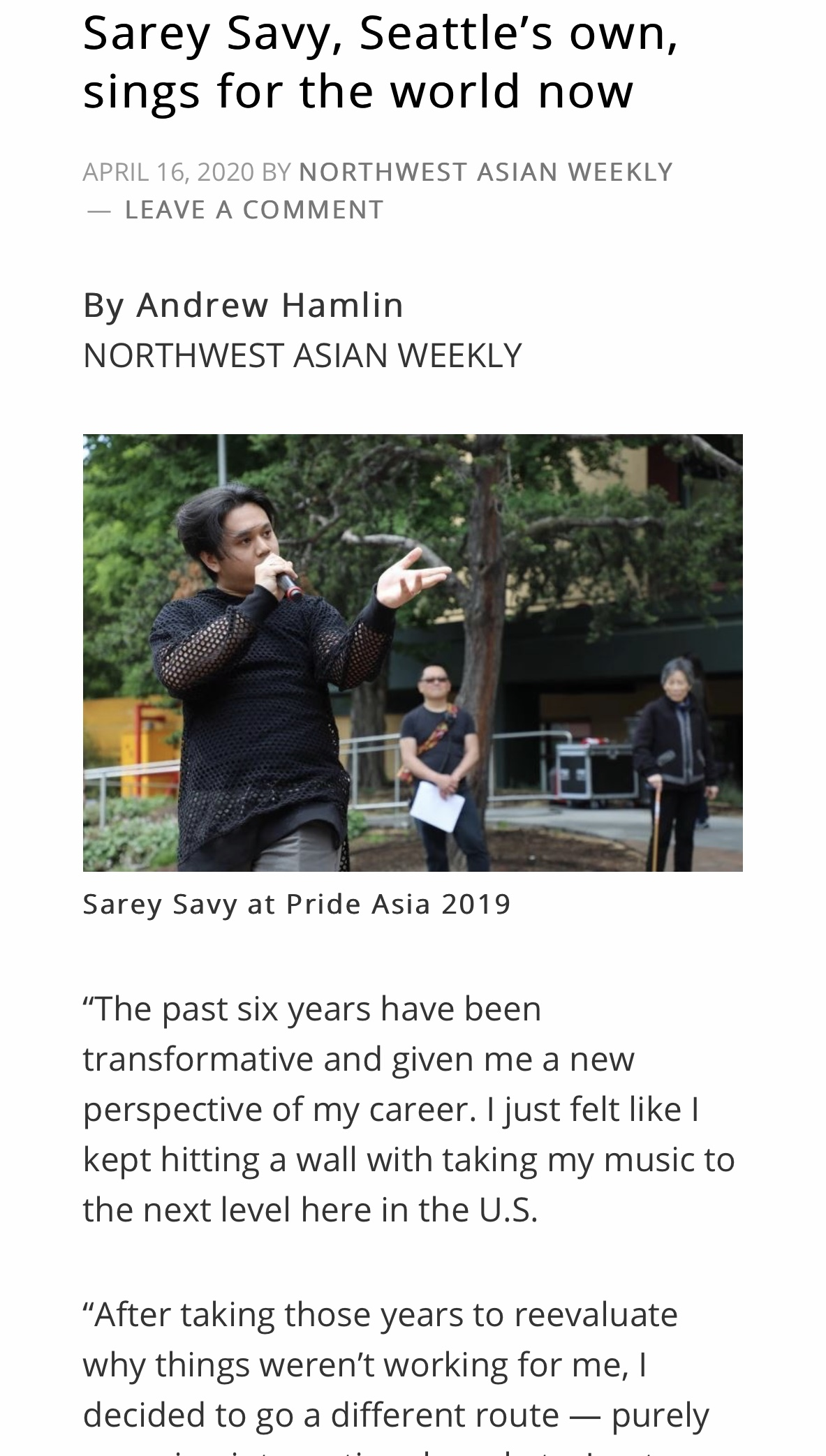 Sarey on NW Asian Weekly