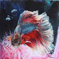 Messenger Animals Series: RAINBOW (2019) 40*40cm acrylic & oilp on canvas  SOLD