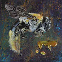 Messenger Animals Series: WORK LIKE A BEE (2017) 40cm*40cm acrylic & oil painting on canvas SOLD