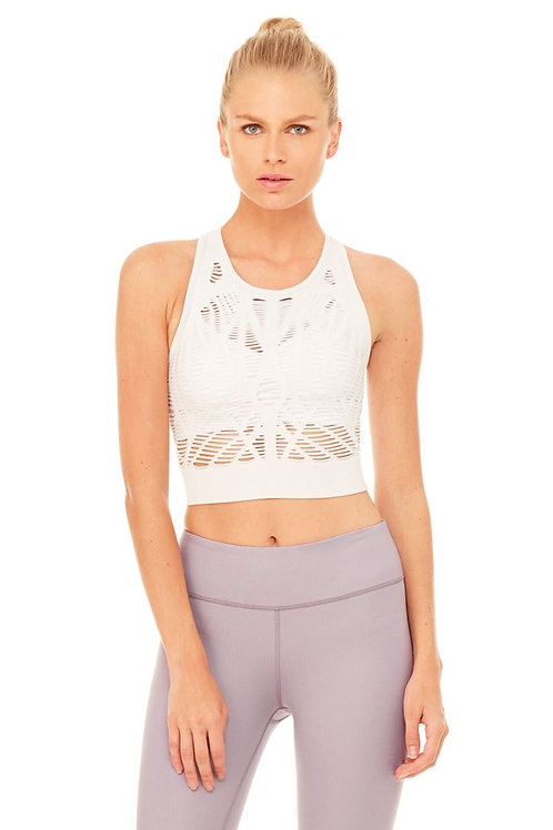 VIXEN FITTED CROP TANK - White