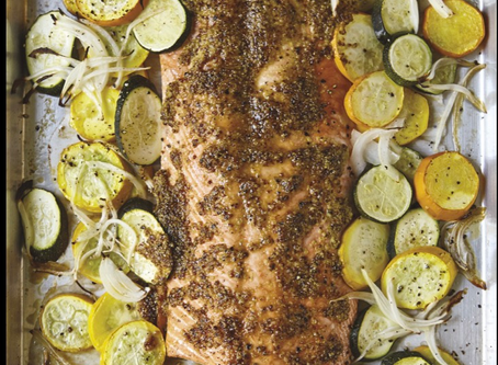 COCONUT SUGAR BAKED SALMON and VEGETABLES