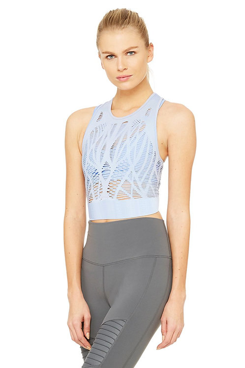 VIXEN FITTED CROP TANK - Sky