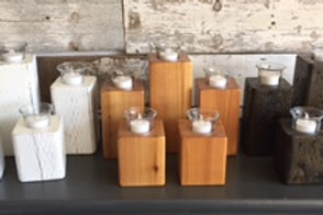 Set of Wood Candle Holders