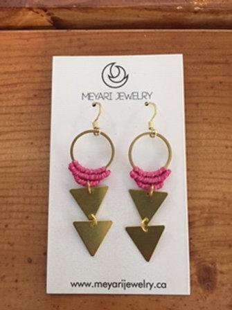 Gold & Pink Earrings