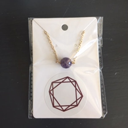 Amethyst Necklace with Gold Chain