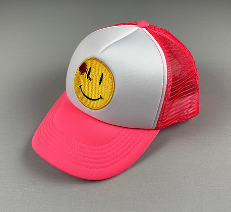 "THXMATE ""Smiley is over"" Snapback Cap Pink"