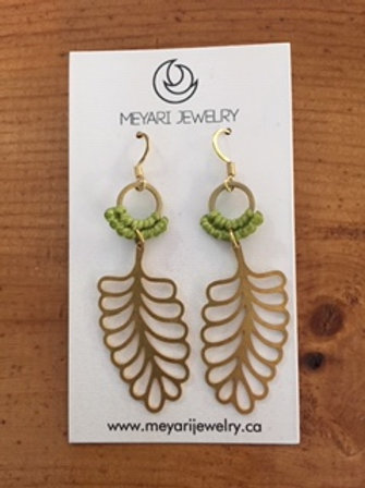 Gold & Green Earrings with Leaves