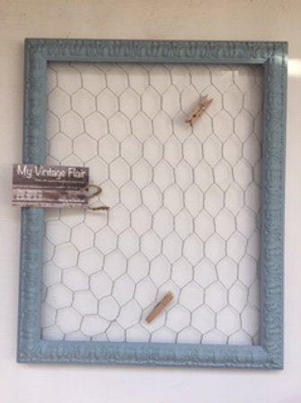 Vintage frame with chicken wire