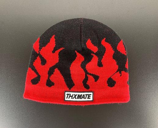 "THXMATE ""Flammen"" Beanie Rot Schwarz"