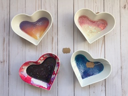 Heart Trinket Dish with Resin