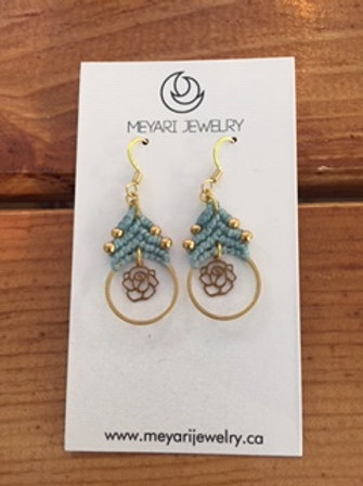 Gold & Blue Earrings with Roses