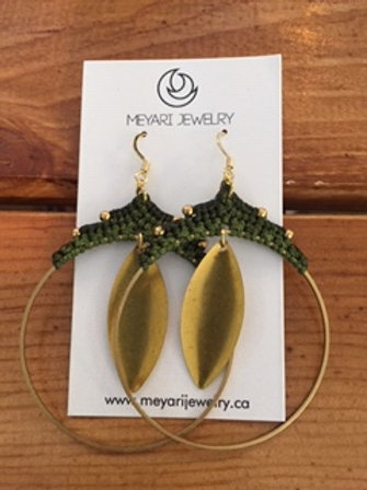 Gold & Green Hoop Earrings