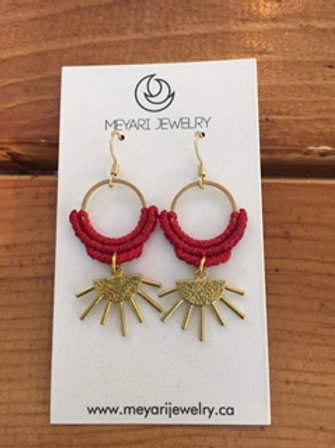 Gold & Red Earrings
