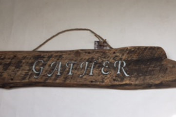 Gather Barnwood Sign