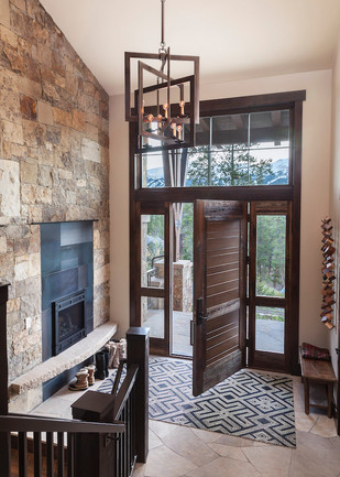 Foyer Fireplace - Mountain Contermporary Home