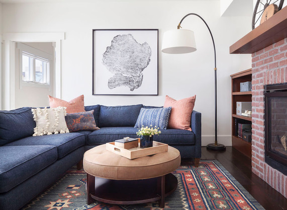 Blue and Coral Family Room