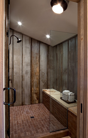 Tin Wall Shower in Farmhouse