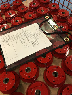 Red powder coated parts.