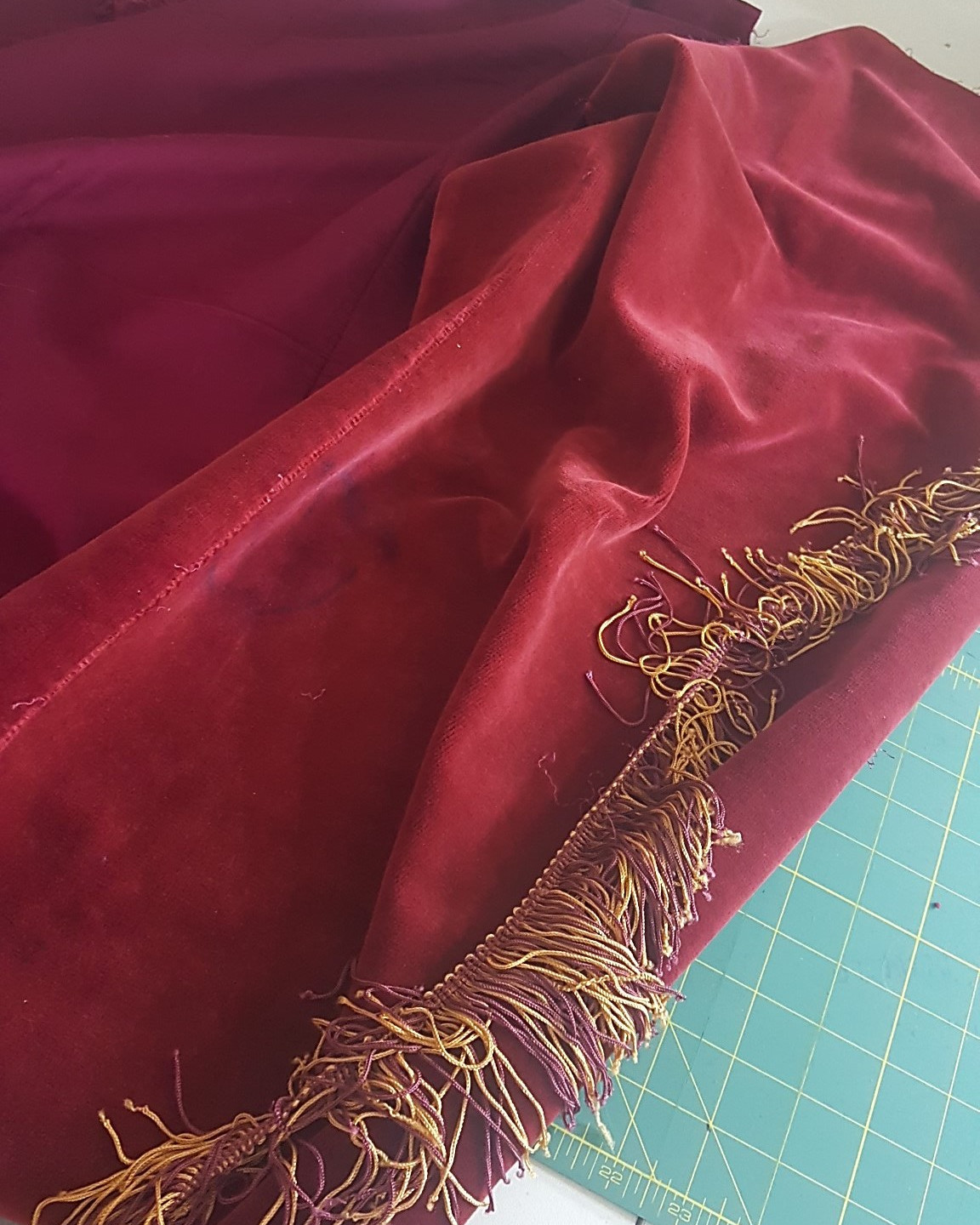 taking cloth apart and removing fringe