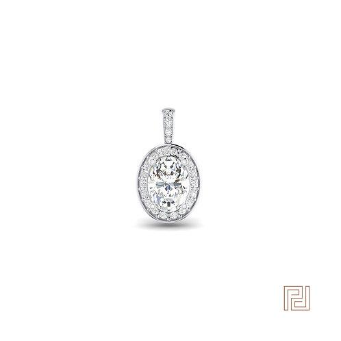 White Gold Oval Diamond Halo Pendant