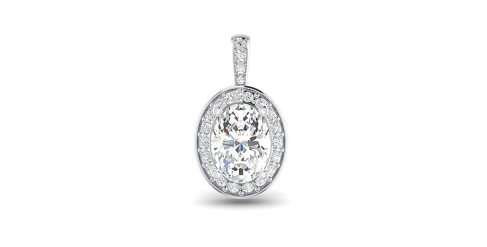 White Gold Oval Diamond Halo Pendant