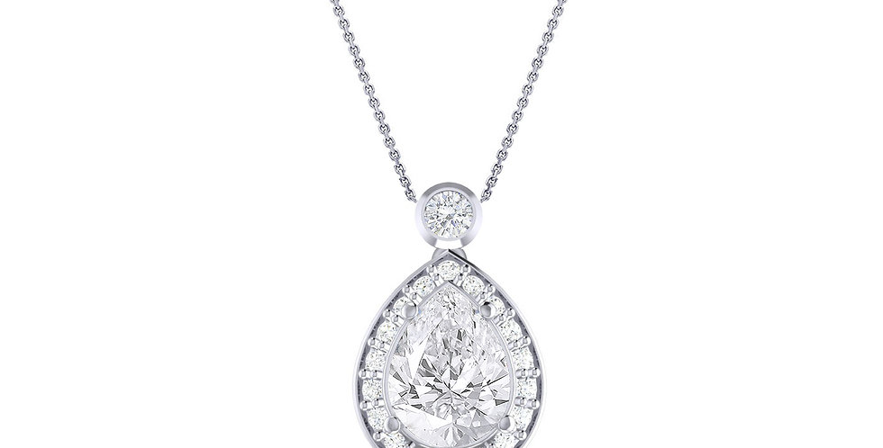 White Gold Pear Diamond Halo Drop Pendant