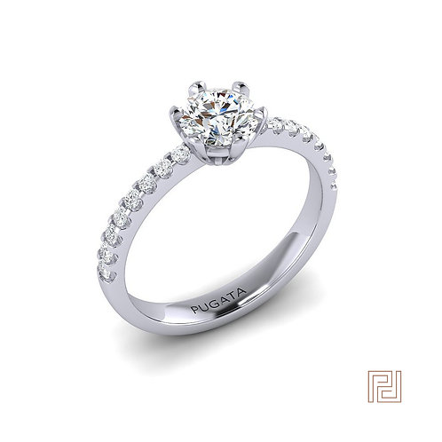 White Gold Diamond Detail Round Solitaire Ring