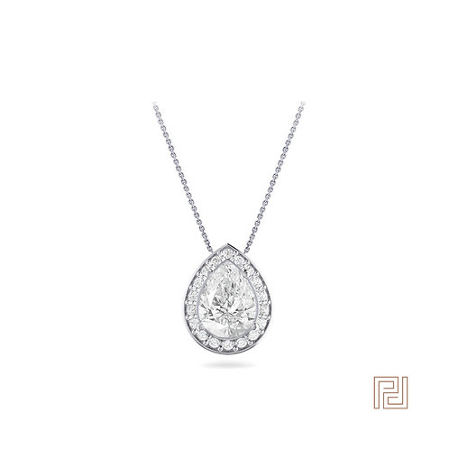 White Gold Pear Diamond Halo Slider Pendant