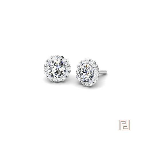 White Gold Round Diamond Halo Stud Earrings